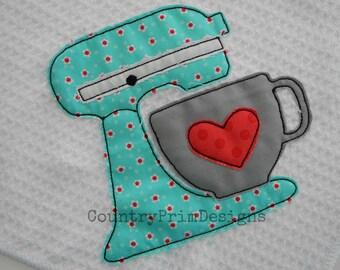 Raggy Mixer Applique, Country Kitchen Machine Applique Design, Country Embroidery, Prim Applique,