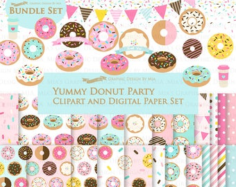 Donut, Yummy Donut Party, Doughnut, Donut Sprinkle Clip Art + Digital Paper Set - Instant Download