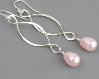 Pink Pearl Earrings - Swarovski Earrings - Sterling Silver Infinity Earrings - Bridesmaid Earrings - Wedding Jewelry - Pearl Drop Earrings