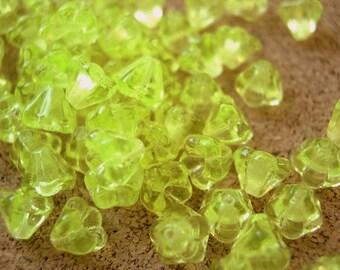 100 Czech glass flower beads bell shape unique green 6mmx5mm, NEW