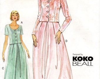Sz 14/16/18 - Vogue Separates Pattern 7169 by KOKO BEALL - Misses'  Scoop Neck Top & Flared Skirt in Two Options - Very Easy Vogue Patterns