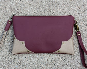 Burgundy Vegan Leather Clutch / Strap and Tassel included