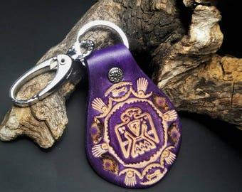 Native American thunderbird leather keychain, purple leather key fob, one of a kind keychain