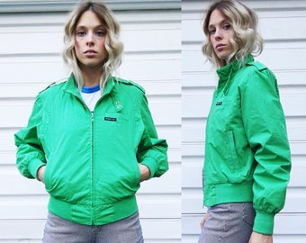 Vintage Members Only Emerald Green Zip Front Classic Bomber Jacket S