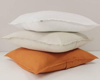 Linen cushion cover, Rust linen pillow, Orange accent pillow linen, Linen throw cushion, Linen sofa pillow cover, Linen decorative cushions