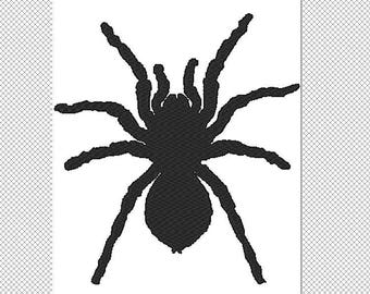 Solid Tarantula Embroidery Design File - multiple formats - one color design - 5 sizes - instant download