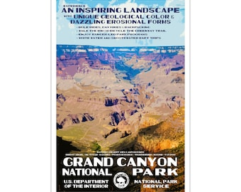 "Grand Canyon National Park WPA style poster. 13"" x 19"" Original artwork, signed by the artist. Free Shipping !"