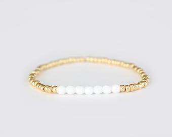Snowy White and Gold Beaded Bracelet - Navi