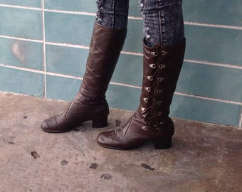 sz 7,5m vintage 60s low heel brown leather lace up hippie  boots BF01