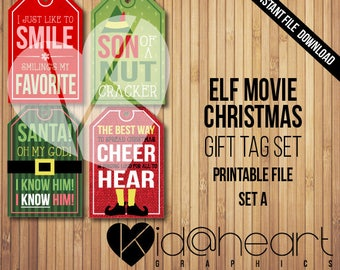 Buddy the Elf / Gift Tag Set / Movie / Funny  / Quotes / Santa / Printable / Christmas / DIY / Wrapping / Smiling's my Favorite / Download /