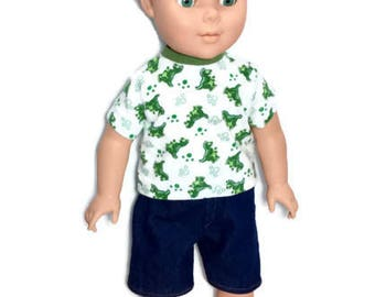 Dinosaur T-shirt with Jean Shorts, Green Dinosaurs on a White T-Shirt, 18 Inch Boy Doll Clothes, Summer Doll Clothes, One of a Kind