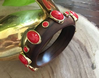 Vintage Wood Bangle with Coral Stones