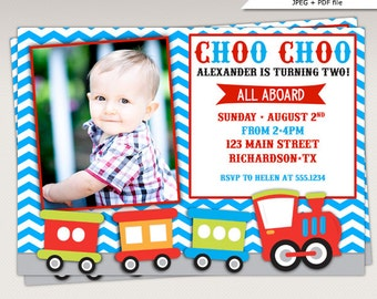 Choo Choo Train Birthday Party Photo Invitation Blue and Red #356