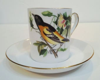 Royal Tuscan Demitasse Cup and Saucer Audubon Baltimore Oriole