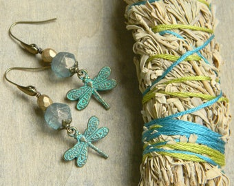 Dragonfly earrings insect jewelry unique gift for her fun jewelry blue green glass beaded jewelry beaded earrings dangle earrings