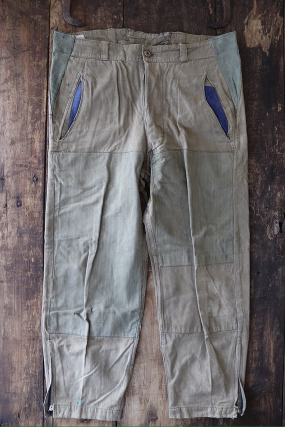 "Vintage 1950s 50s french army hbt trousers pants repaired darned 36"" x 27"" work chore workwear button fly"