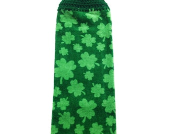 Shamrock Hand Towel With Kelly Green Crocheted Top