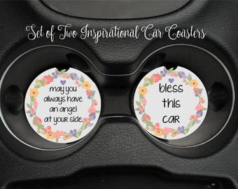 SET OF TWO Inspirational Car Coasters