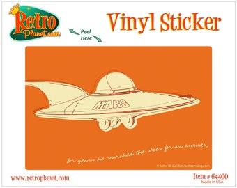 Mars Flying Saucer Lunastrella Vinyl Sticker - #64400