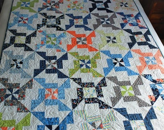 Colourful modern patchwork quilt, lap quilt, sofa throw, bed topper, handmade, OOAK own design