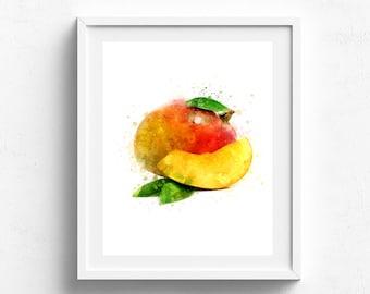 Mango print Mango kitchen poster Mango decor Mango art print Mango botanical fruit Watercolor painting Mango kitchen decor Art for kitchen