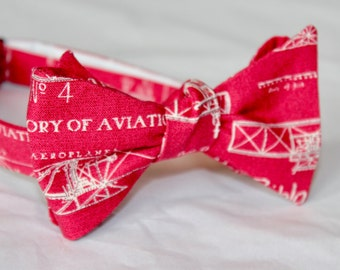 Airplaine Bueprint Bow Tie in Red and White - Groomsmen and wedding tie - clip on, pre-tied with strap or self tying
