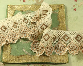 "1 yard Antique 1920s torchon lace flapper net chocolate ecru one yard dolls intricate tambour work 3.5"" wide airy tulle net"