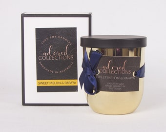 Sweet Melon & Papaya Scented Soy Wax Candle   White   Gold   Black 130g - SALE