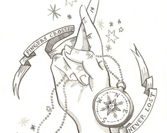 Explore Outdoors Compass Camping Hand Stars Illustration Original Ink Drawing Print