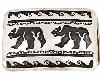 1970's - 1980's Navajo Overlay Hand Bear Belt Buckle .925 SOLID Silver