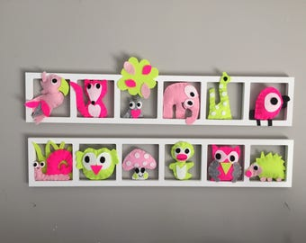 Original, playful and colorful wall decoration for nursery - custom