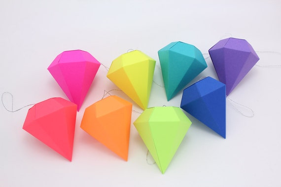 Geometric Paper Gem Ornaments Paper Diamonds Neon Bright