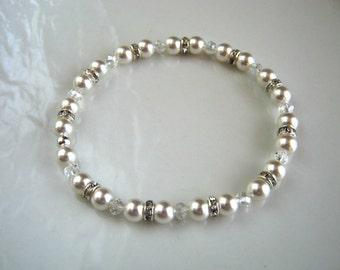 Rhinestone White Pearl Stretch Bracelet Swarovski White Pearl Wedding Bracelet Pearl Bridal Bracelet