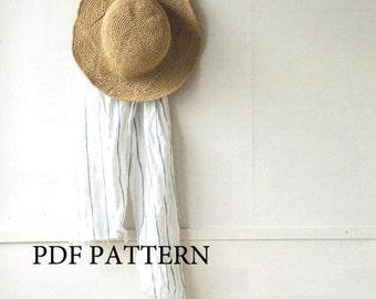 pdf download crochet pattern, summer sun hat pattern, straw hat pattern