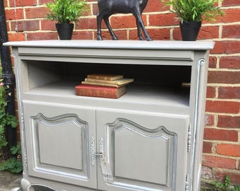 Just Sold ~~Carved Antique French Oak TV Stand Tv unit Sideboard storage Annie Sloan Chalk Paint