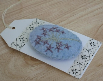 Hand Embroidered Felt brooch - Purple Flower with beads