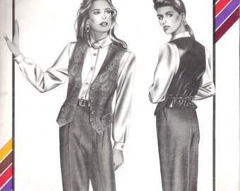 Sewing Pattern Misses' VEST, Stretch and Sew Pattern 321,  Sizes Petite, Small, Medium. Vintage 1989