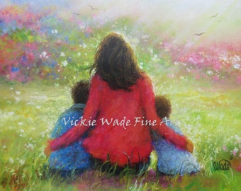 Mother Two Sons Art Print, two boys, mom, motherhood, garden mother and sons, two brothers, Vickie Wade Art