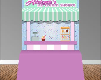 Ice Cream Shoppe 6x6 Banner Backdrop/ Step & Repeat, Design, Print and Ship!