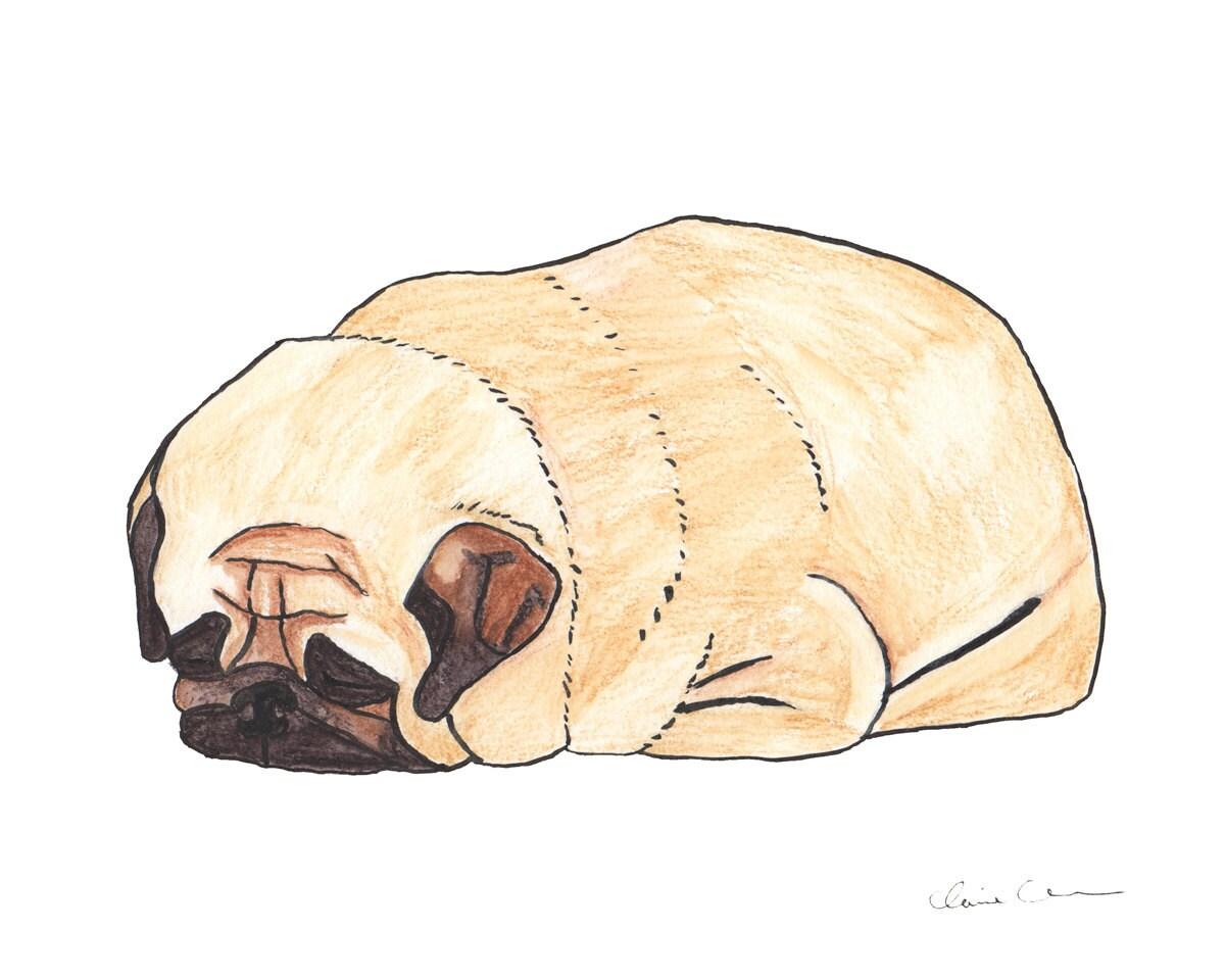 Pug Loaf Pug Dog Lover Art Gift Funny Animal Art Print Dorm