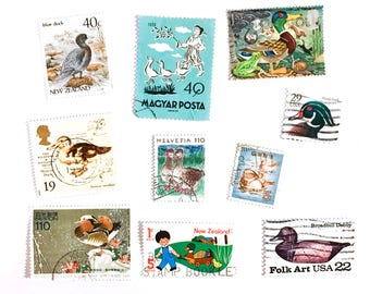Duck postage stamps - all different - 10 from 6 countries - Duckling Mallard Ducks - off paper, used - stamp collecting, crafts, card making