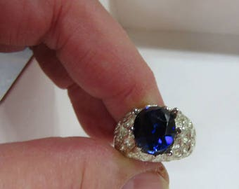Mens Rings - Lapis & Blue Sapphire - Handsome Men's Ring with Your Choice of 2 Rings/2 Gemstones