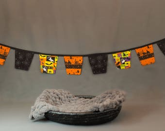 Fabric Flag Bunting, Pennant Banner, Photography Prop, Newborn Prop - Halloween Banner Black and Orange 9ft