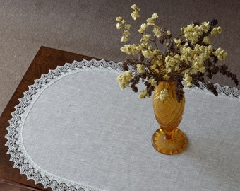 Linen and lace table runner Coffee table scarf Small tablelcloth Mother's day table cloth