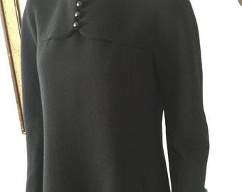 1960s Mod Black Wool Geoffrey Beene Dress
