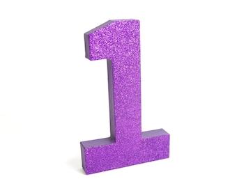 Dark Purple Glitter Number or Letter for First Birthday - Purple Party Decor - Purple Wedding Decor - Glitter - Baby's Room