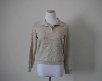 Vintage women's sweater/ minimalist/ plain sweater/ long sleeve/ cotton blend size S