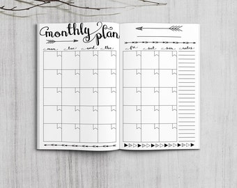 Printable Monthly Planner Inserts, Pocket Size Monthly Planner, Printable Field Note Monthly planner inserts, PDF file