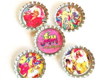 Jem and the Holograms  Bottle Cap Magnet Set of 5