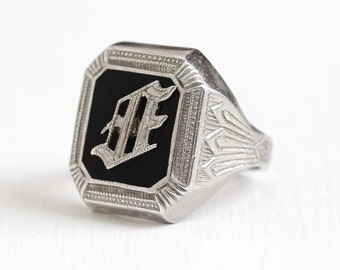 Sale - Onyx Signet Ring - Vintage Sterling Silver Art Deco Initials AE Simulated Black - 1920s Size 7 1/4 Glass Stone Statement Jewelry